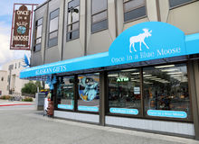 Alaskan Gifts. Once In a Blue Moose is an Alaskan gifts shop in downtown Anchorage. A family own store, selling Alaskan souvenirs, apparel,books,toys,made in Royalty Free Stock Image