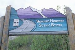 An Alaskan highway sign Stock Photo