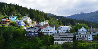 Alaskan Homes Overlooking the Water in Ketchikan stock photo