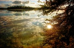 Alaskan lake in evening light Stock Photography