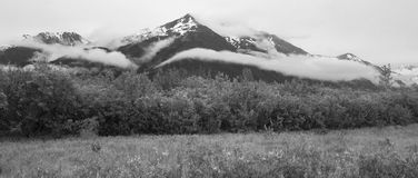 Alaskan landscape in black and white. A dramatic scene of mountains shrouded in cloud over the brushy lowland habitat of coastal Alaska. Shot at Turnagain Arm Royalty Free Stock Photos