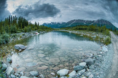 Alaskan landscape. Cold cloudy summer day in Alaska, USA Stock Images