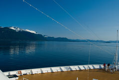 Alaskan Landscape view from a cruise ship deck Royalty Free Stock Image