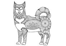 Alaskan malamute dog line art design for tattoo, t shirt design, coloring book for adult and so on - stock  Royalty Free Stock Photos