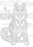 Zentangle Siberian Husky Dog. Alaskan Malamute or Siberian Husky. Eskimo Dog. Coloring Page. Adult Coloring Book idea. Antistress freehand sketch drawing with Stock Image