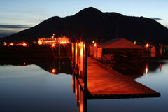 Alaskan Nightshot. A night scenery in an Alaskan Port royalty free stock photography