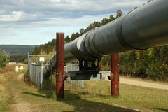 Alaskan Pipeline. Outside Fairbanks, Alaska stock photo