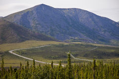 Alaskan pipelineand haul road Royalty Free Stock Images