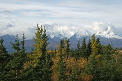 Alaskan Range. Alaska mountians in north country stock photo