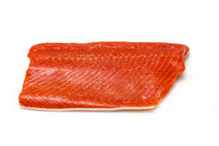 Alaskan salmon fillet. Wild Alaskan Sockeye or Coho salmon fillet isolated on a white background Royalty Free Stock Photo