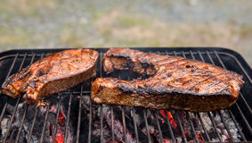Alaskan salmon on the grill Royalty Free Stock Image