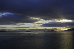 Alaskan Sunset. The sunset leaving Endicott Arm after cruising to Dawes Glacier Royalty Free Stock Photography
