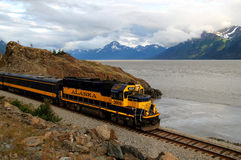 Alaskan train on the Turnagain Arm Royalty Free Stock Image