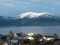 Alaskan Village. Village of Wrangell, Alaska in winter Stock Photo