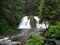 Alaskan waterfall. Duel falls in the wilderness Royalty Free Stock Photography