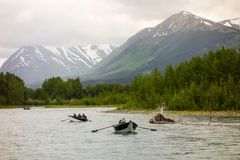Fishermen competing in a derby on the kenai Royalty Free Stock Photos