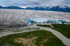 Alaski lodowiec Łamający widok z lotu ptaka zdjęcie stock