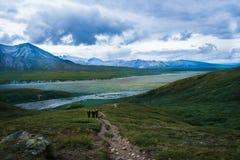 Alaskischer Gebirgswildnis-Abenteuerbestimmungsort Stockbilder