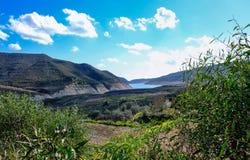 Alassa Dam seen from Troodos Mountain, Cyprus stock photo