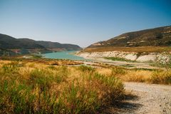 Alassa water dam in Cyprus stock photo