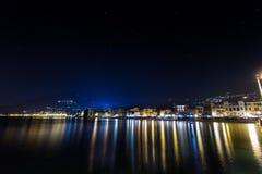 Alassio τη νύχτα Στοκ Φωτογραφίες