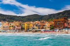 Alassio With Colorful Buildings-Alassio,Italy Stock Photo