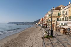 Italian Riviera. Seafront at the resort of Alassio Stock Photography