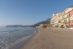 Italian Riviera. Seafront at the resort of Alassio Stock Images