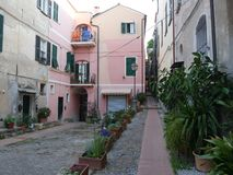 Medieval village of Cervo. Alassio square in the medieval village of Cervo, Liguria, Italy Stock Image