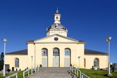 Alatornio church. Tornio, Finland - July 20, 2016: The Alatornio church exterior in and a point in the Struve Geodetic Arc is located in the bell tower protected Royalty Free Stock Photography