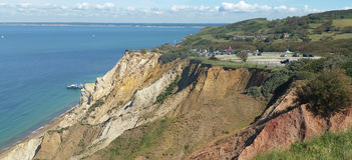 Alaun-Bucht besteht aus Eozänbetten Lizenzfreies Stockbild