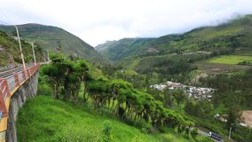 Alausi Ecuador panorama of the valley called Devil s Nose. Daytime stock video