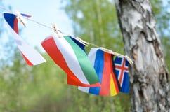Alaves европейских стран на веревочке на улице превращается Стоковое Фото