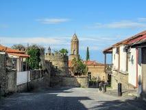 Alazani dolina, Kakheti, Gruzja: Signagi śródmieście w Gruzja regionie Kakheti i centrum Signagi zarząd miasta wewnątrz zdjęcie royalty free