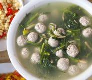 Albóndiga del cerdo del chino tradicional y sopa de la espinaca Foto de archivo libre de regalías