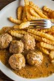 Alb?ndigas con las patatas fritas en salsa del eneldo imágenes de archivo libres de regalías