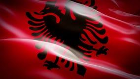 Albańczyka chorągwiany zbliżenie 1080p Folował HD 1920X1080 materiału filmowego wideo falowanie w wiatrze Krajowy 3d albańczyka f royalty ilustracja