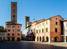 Alba Италия, аркада Risorgimento стоковые фото