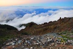 Alba al cratere Immagine Stock