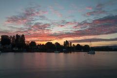 Alba al lago di Costanza Fotografia Stock