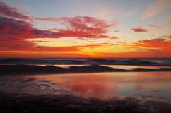 Alba al Mar Baltico nel heringsdorf della Germania Fotografia Stock