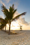 Alba al mare caraibico Fotografie Stock Libere da Diritti
