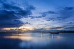 Alba al porto Fotografia Stock