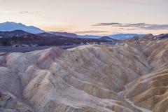 Alba al punto di Zabriskie nel parco nazionale di Death Valley, California, U.S.A. Immagini Stock Libere da Diritti