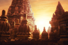 Alba al tempio indù di Prambanan Java, Indonesia Immagine Stock Libera da Diritti