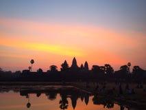 Alba al tempio khmer Fotografie Stock Libere da Diritti
