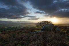 Alba alla collina di Caradon, Cornovaglia, Regno Unito Fotografie Stock