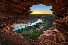 Alba alla finestra delle nature nel parco nazionale di kalbarri, Australia occidentale 2 immagine stock