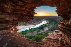 Alba alla finestra delle nature nel parco nazionale di kalbarri, Australia occidentale 4 fotografia stock libera da diritti
