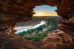 Alba alla finestra delle nature nel parco nazionale di kalbarri, Australia occidentale 5 immagine stock libera da diritti